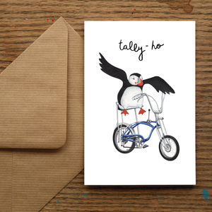 'Tally Ho' Puffin Greetings Card - winter sale