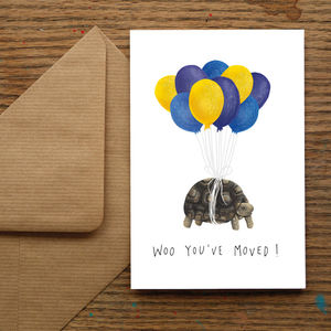 'Woo You've Moved!' New Home Tortoise Greetings Card