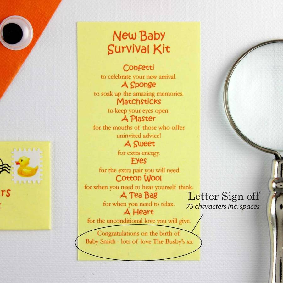 Personalised New Baby Survival Kit Keepsake By Little Letter