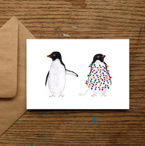 Festive Penguins Christmas Cards - christmas cards