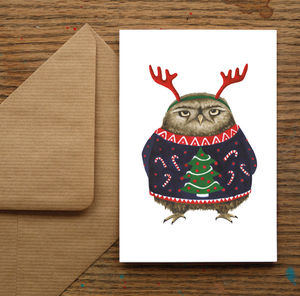 Grumpy Christmas Owl Christmas Card - cards & wrap