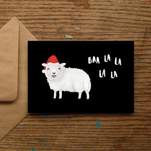 'Baa La La La La' Santa Sheep Christmas Card - christmas sale