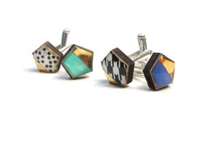 Geometric Hexagon Mismatching Cufflinks