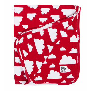 Clouds Soft Baby Blanket Red