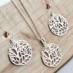 Silver Forest Circle Jewellery Set