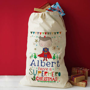 Personalised Superhero Christmas Gift Sack - stockings & sacks