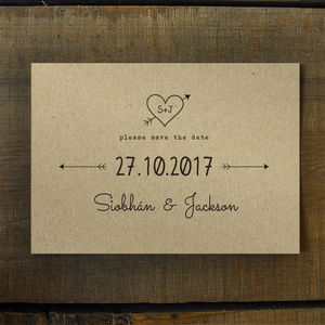 Heart And Arrow Kraft Save The Date Card Or Magnet - wedding stationery