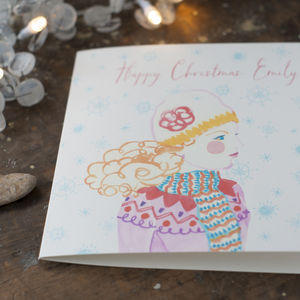 Personalised Christmas Card For A Woman Or Daughter