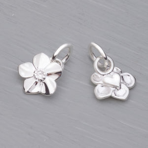 Forget Me Not Solid Silver Charm - children's accessories