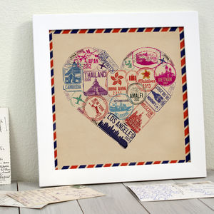 Personalised Passport Stamp Heart Print - frequent travellers