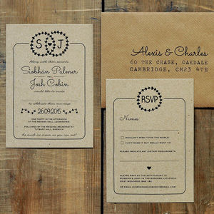 Heart Illustration Kraft Wedding Invitation Suite