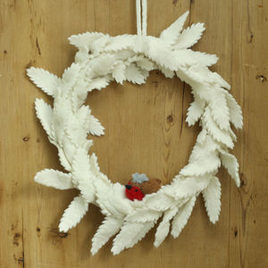 Cream Robin Felt Wreath - wreaths