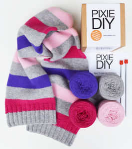 Luxury Stripy Scarf Knitting Kit - gifts for her