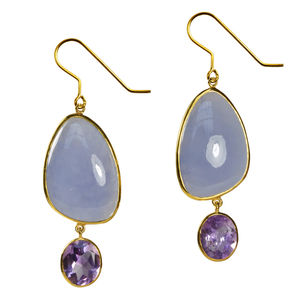 Peppa Earrings Chalcedony, Amethyst And Gold