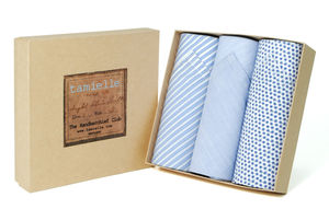 Box Of Italian Cotton Hankies: Flowers And Stripe