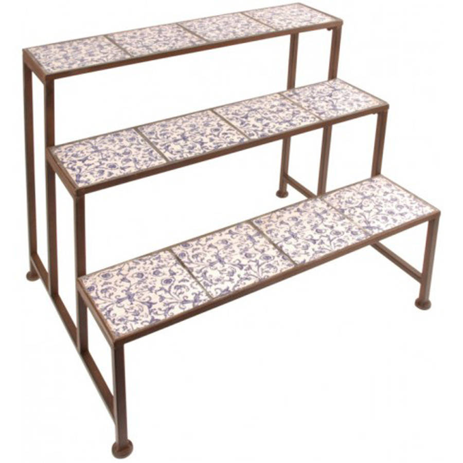 stylish ditsy ceramic etagere three tier plant stand by garden selections. Black Bedroom Furniture Sets. Home Design Ideas