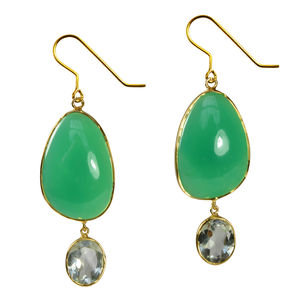 Peppa Earrings Chrysoprase, Green Amethyst And Gold