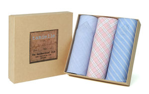 Box Of Italian Cotton Handkerchiefs: Blue And Pink