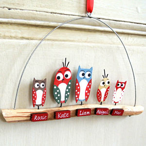 Personalised Christmas Owl Family On Branch