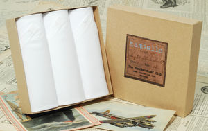 Box Of Three White Cotton Men's Handkerchiefs - handkerchiefs