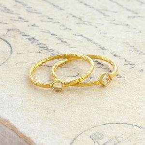 Double Diamond Birthstone Gold Stacking Rings Set