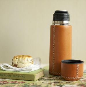 Leather Thermal Vacuum Flask - gifts for him
