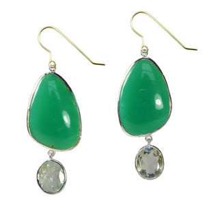 Peppa Earrings Chrysoprase, Green Amethyst And Silver