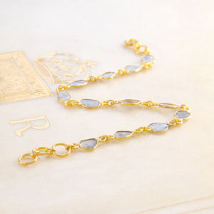 14 Stone Diamond Slice Gold Bracelet