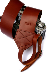 Personalised Retro Leather Camera Strap - personalised