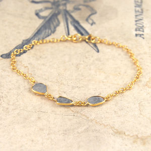 Diamond Triple Natural Organic Gold Bracelet