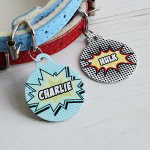 Personalised Comic Pet Tag Bauble Shaped - winter sale