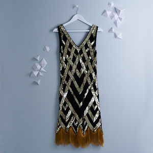 Ritz Vintage Inspired Flapper Embellished Fringe Dress - dresses