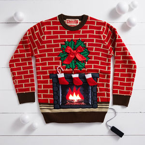 Flashing Fireplace Lighted Christmas Jumper