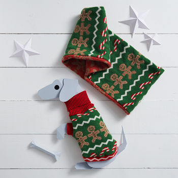 Gingerbread Man Dog Jumper And Scarf Gift Set