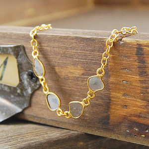 Fine April Diamond Birthstone Slice Gold Bracelet