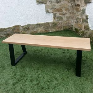 Solid Oak And Steel Loop Leg Bench - furniture