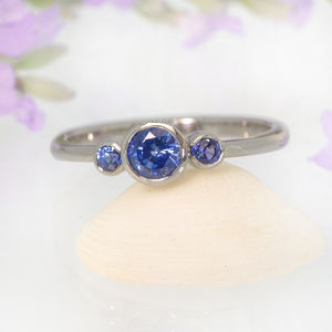 Blue Sapphire Trilogy Ring, 18ct Gold Or Platinum - women's jewellery