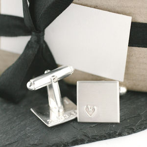 Personalised Secret Message Silver Heart Cufflinks - gifts for him