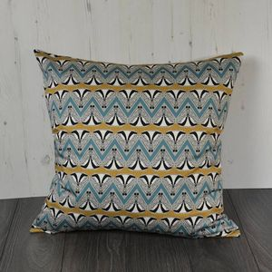 Deco Badger Chevron Turquoise And Gold Floor Cushion - living room