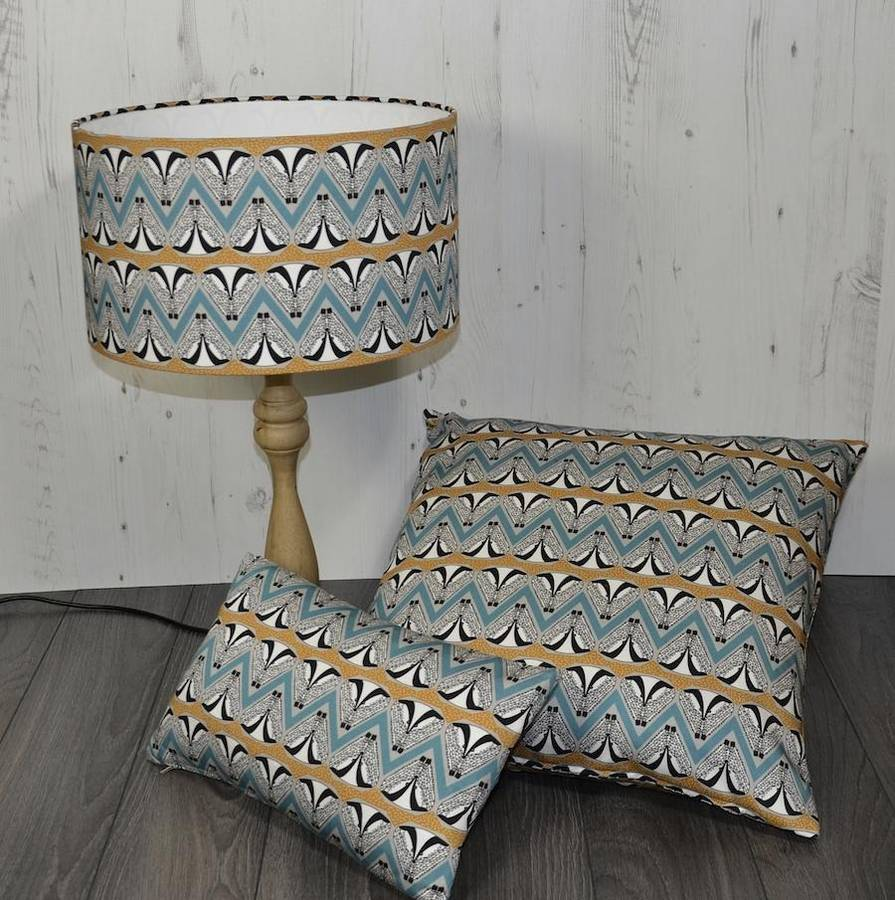 deco badger chevron turquoise and gold floor cushion by orwell and goode notonthehighstreet.com