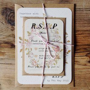 Floral Wreath Wedding Invitation And RSVP Bundle