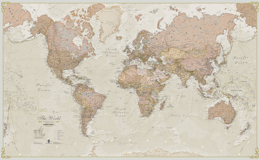 Old Fashioned Map Of The World Cvln Rp