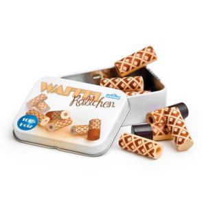 Tin Containing Wooden Waffle Rolls Toy