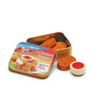 Tin Containing Wooden Chicken Nuggets And Dip Toy - pretend play & dressing up