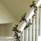 Pre Lit 6ft Red Berry Christmas Garland - christmas decorations