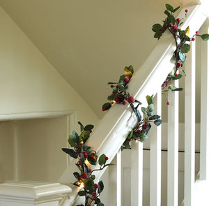 Pre Lit 6ft Red Berry Christmas Garland - bunting & garlands