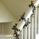 LED Frosted Eucalyptus And Berry Christmas Garland