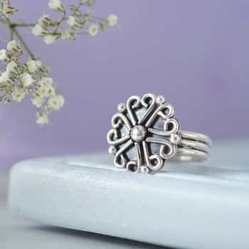 Sterling Silver Heart Flower Ring