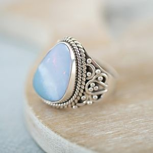 Opal And Sterling Silver Ring - women's jewellery