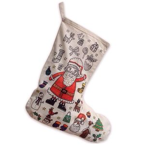 Colour In Santa Christmas Stocking - stockings & sacks